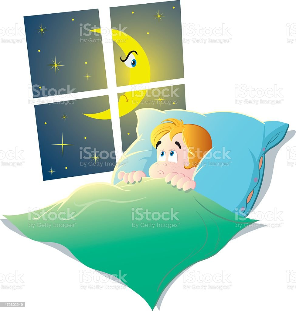 Child in bed royalty-free stock vector art
