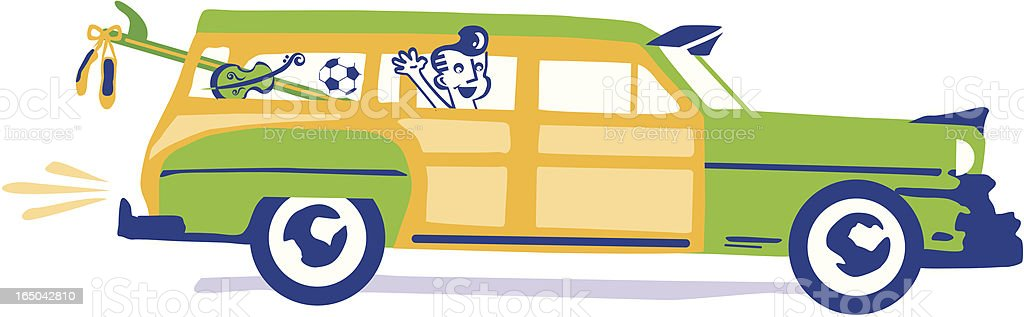 child in retro car royalty-free stock vector art