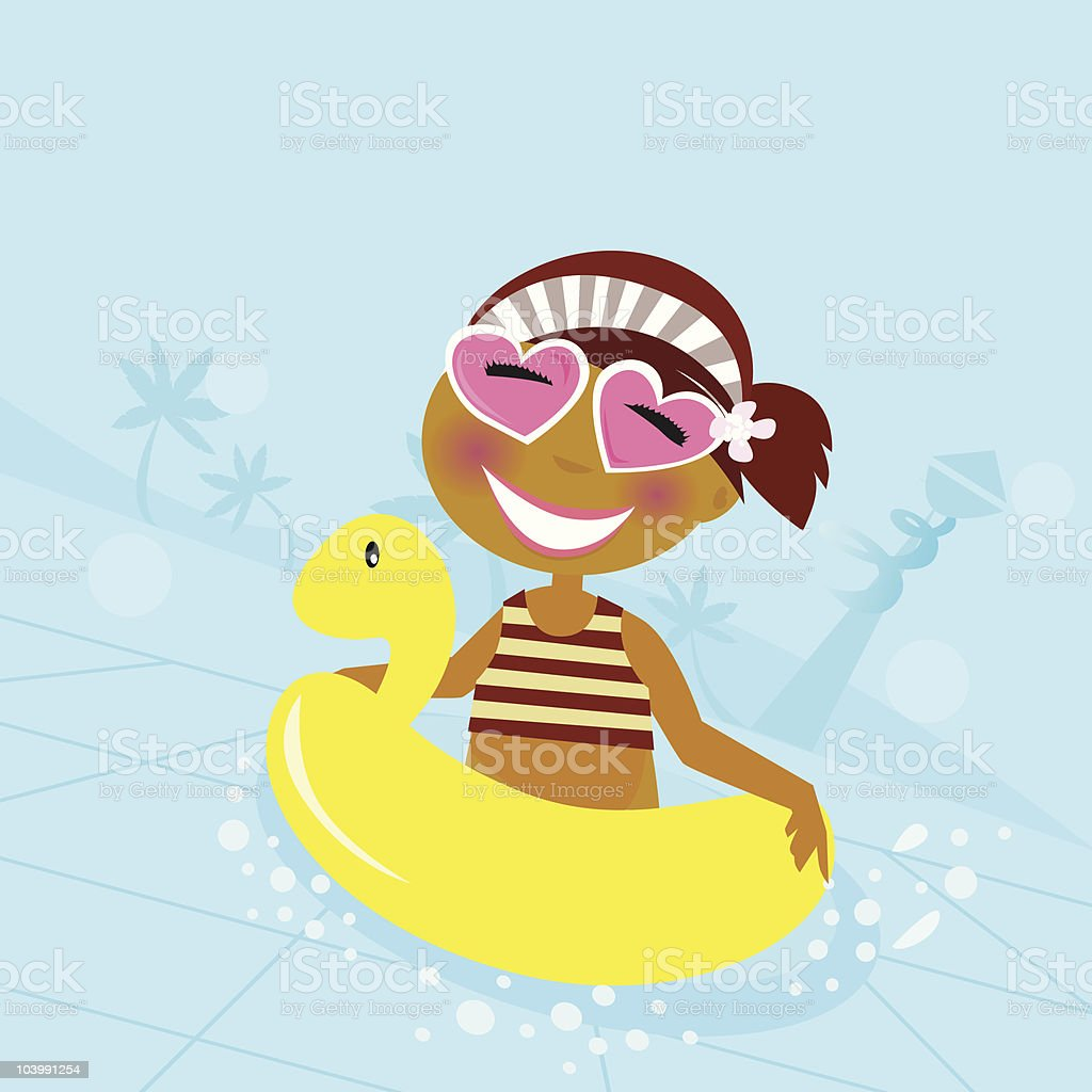 Child in water pool vector art illustration