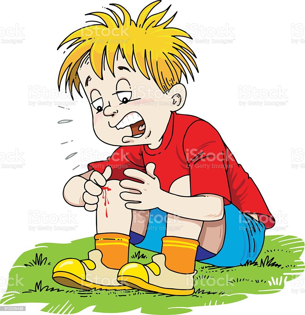 Child injured his leg vector art illustration