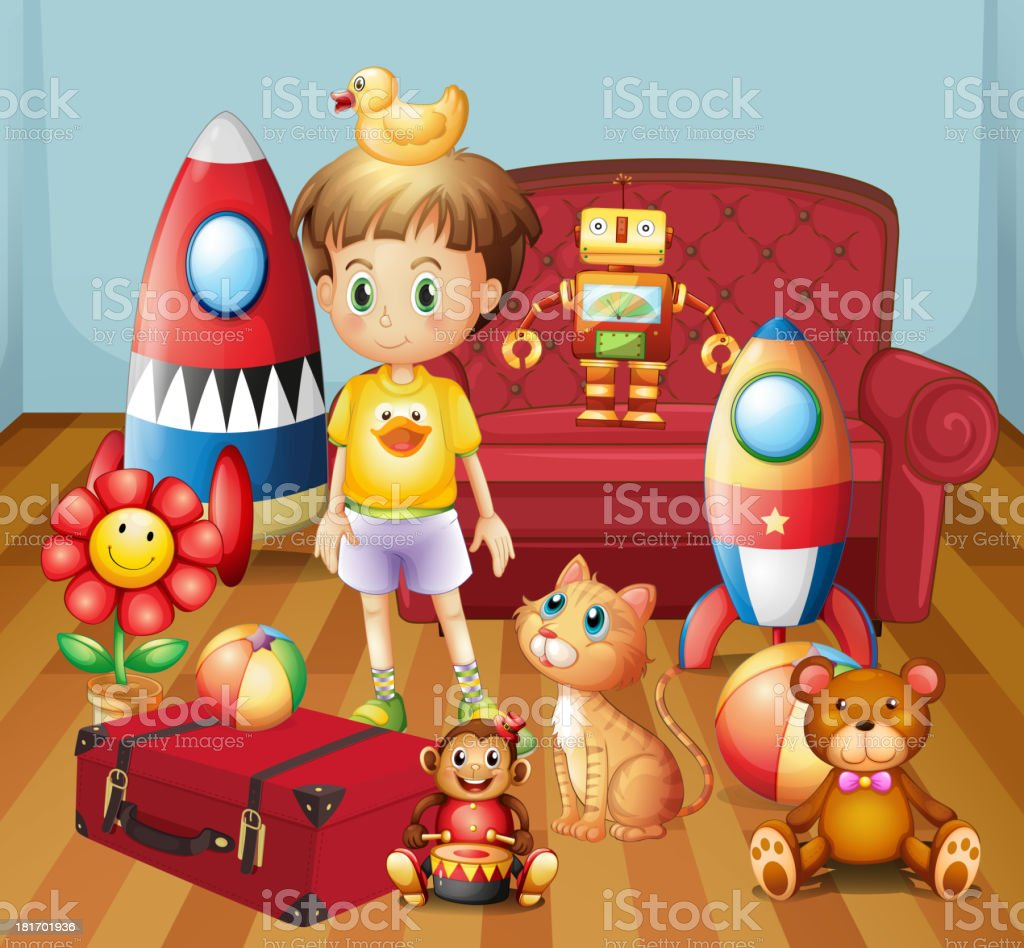 Child inside the house with his toys royalty-free stock vector art