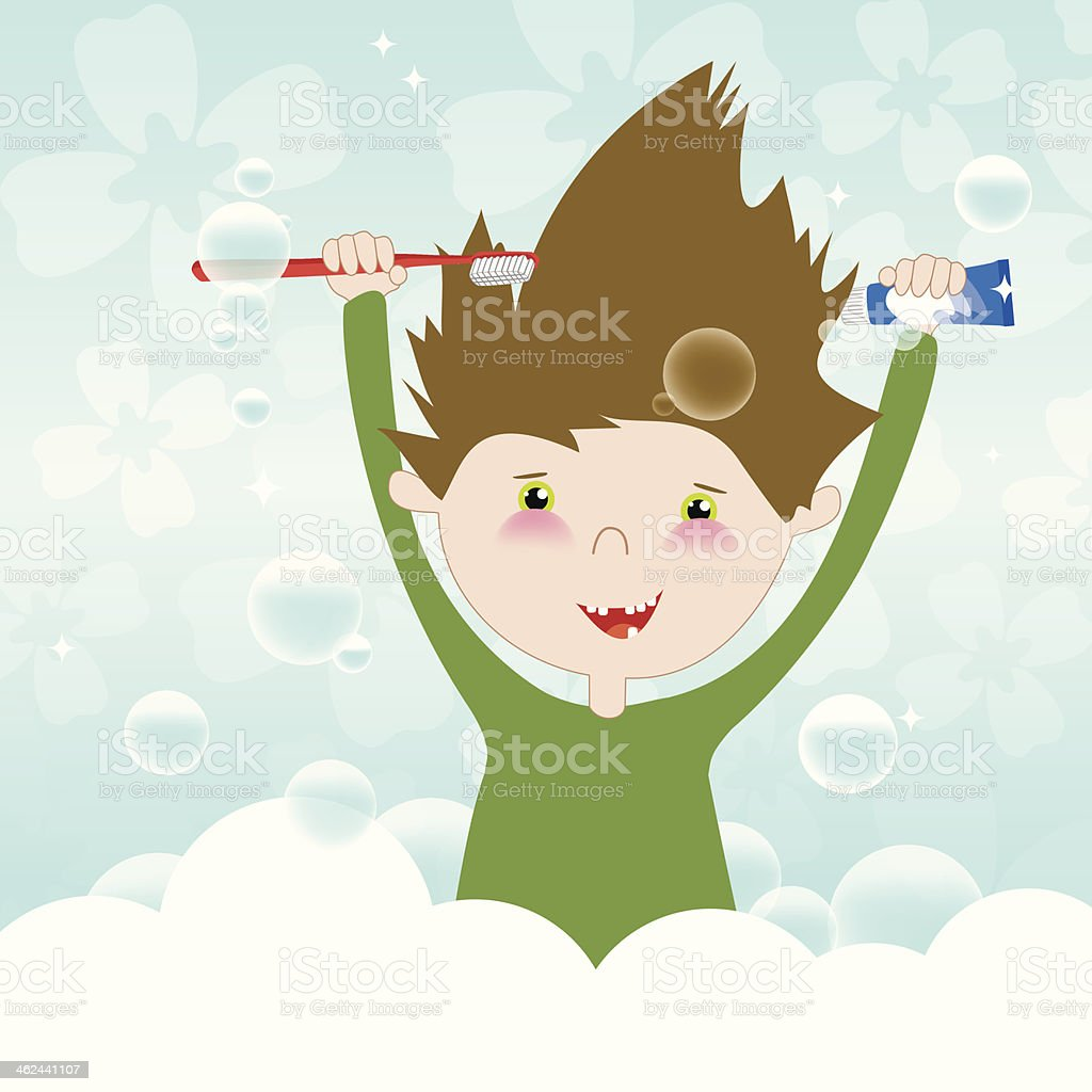 child is brushing its teeth vector art illustration