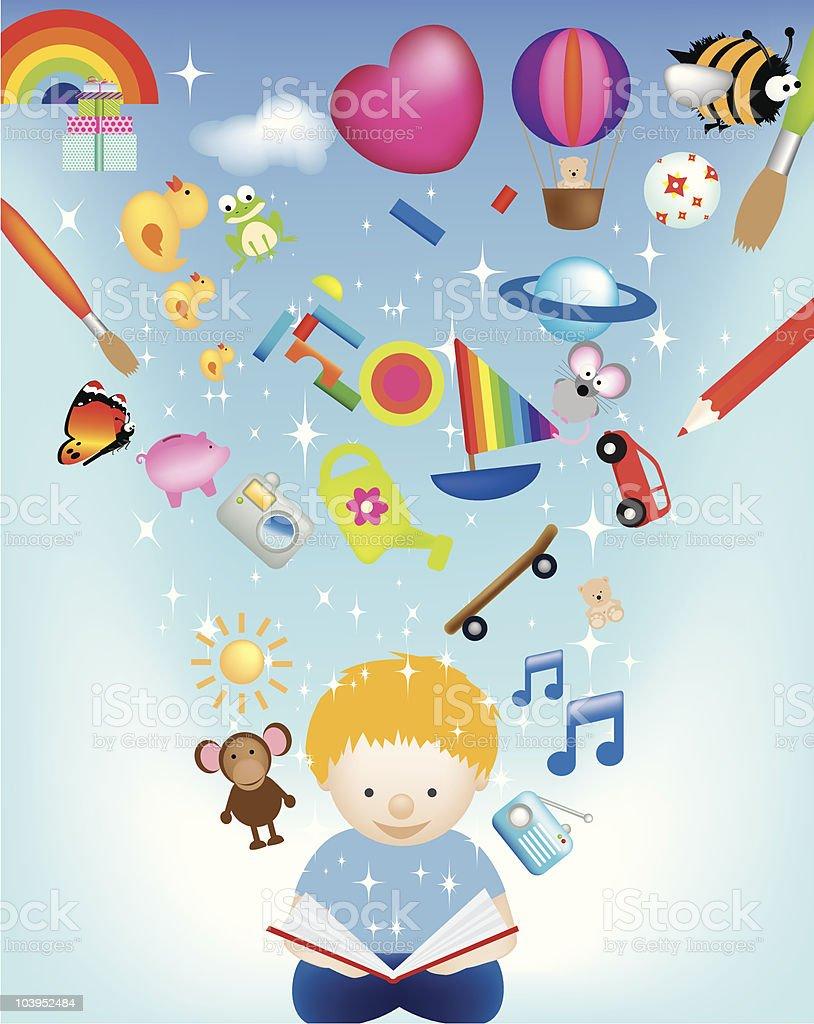 Kinder lernen und lesen Lizenzfreies vektor illustration