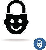 Child lock icon with smiley kid face
