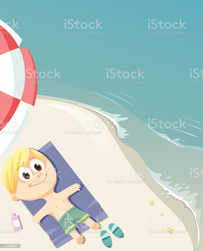 Child lying on the beach royalty-free stock vector art