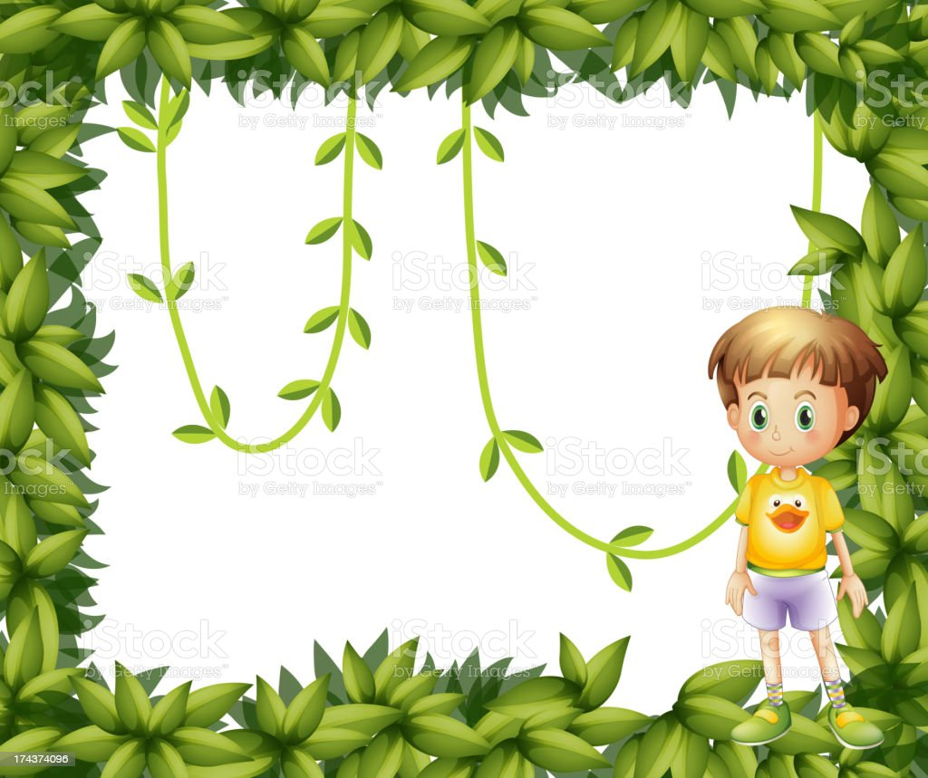 Child on a leafy frame royalty-free stock vector art