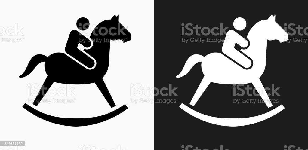 Child on a Toy Horse Icon on Black and White Vector Backgrounds vector art illustration