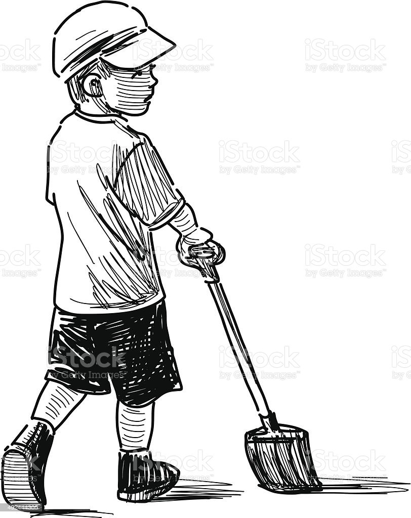 child on a walk royalty-free stock vector art