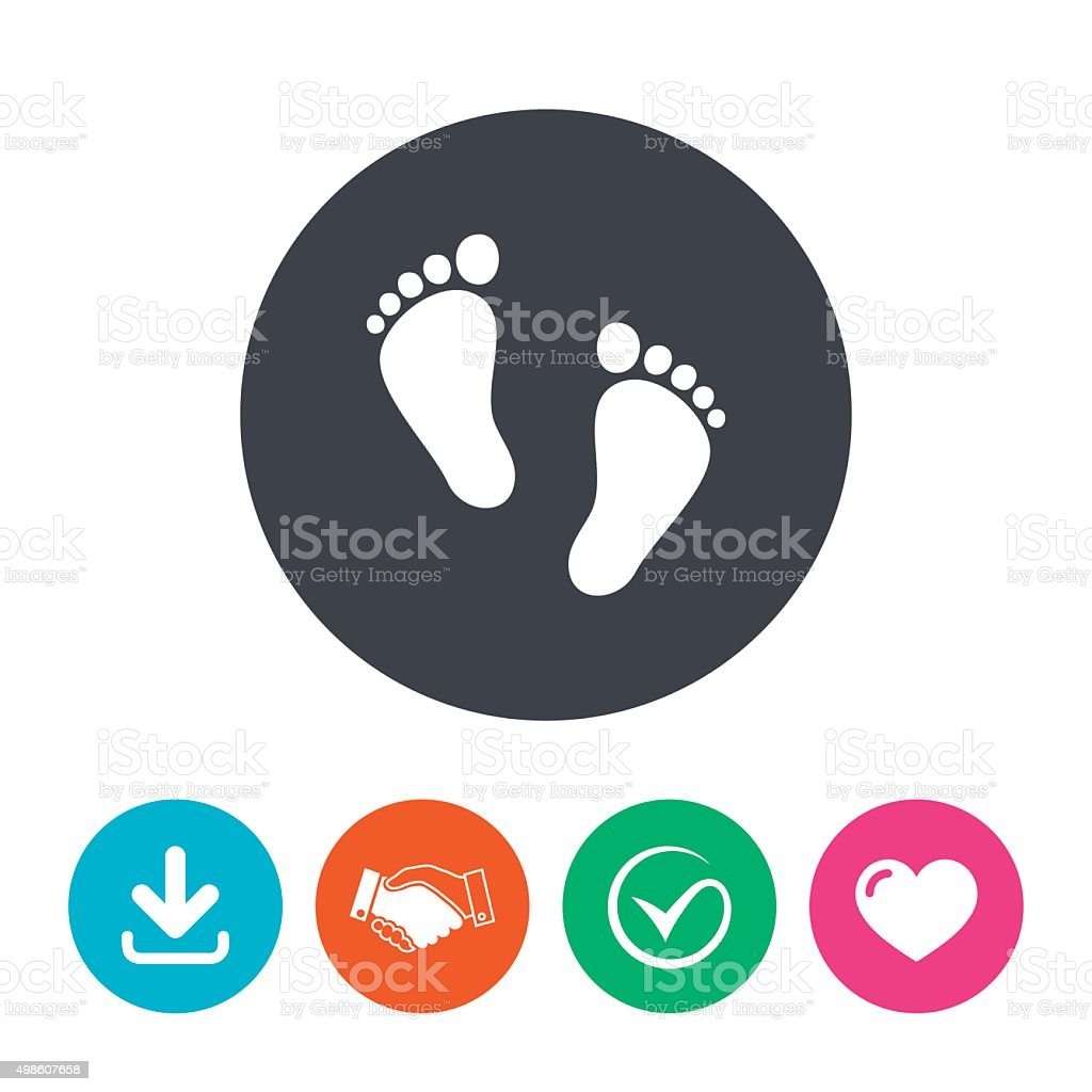 Child pair of footprint sign icon. Barefoot vector art illustration