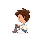 Child petting dog
