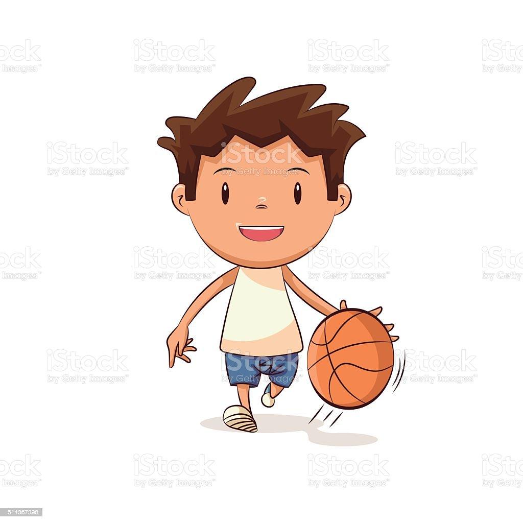 Child playing basketball vector art illustration