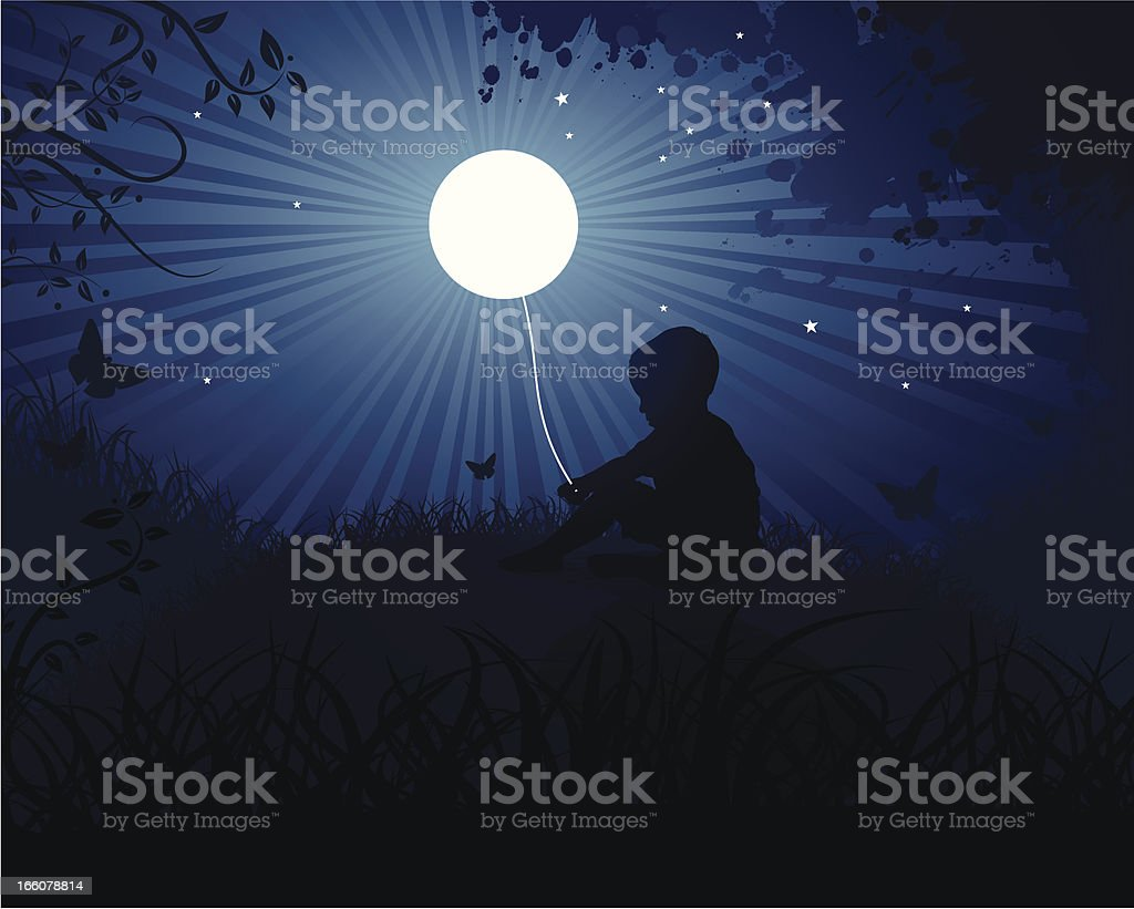 Child Playing with the Moon vector art illustration