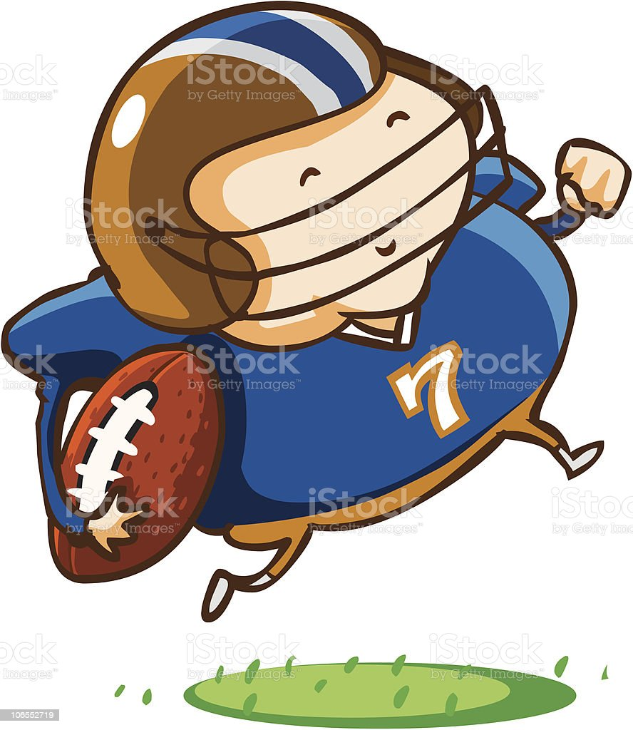 Child practice American Football. royalty-free stock vector art