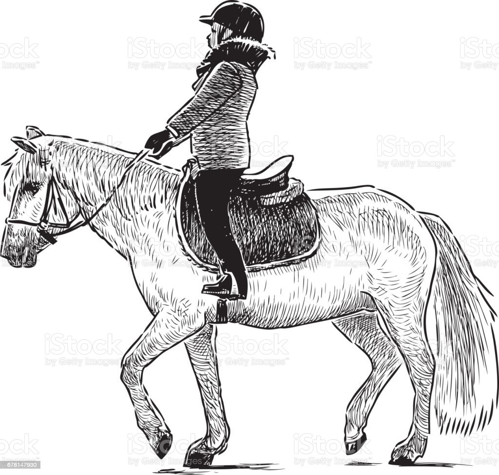 A child riding a horse vector art illustration