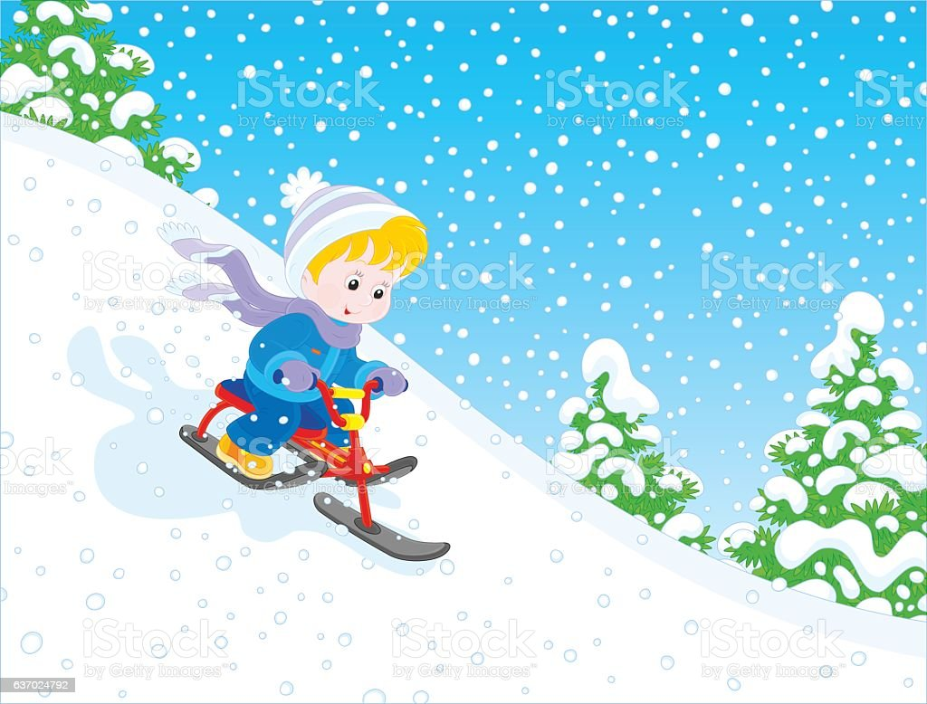 Child riding a snow scooter vector art illustration