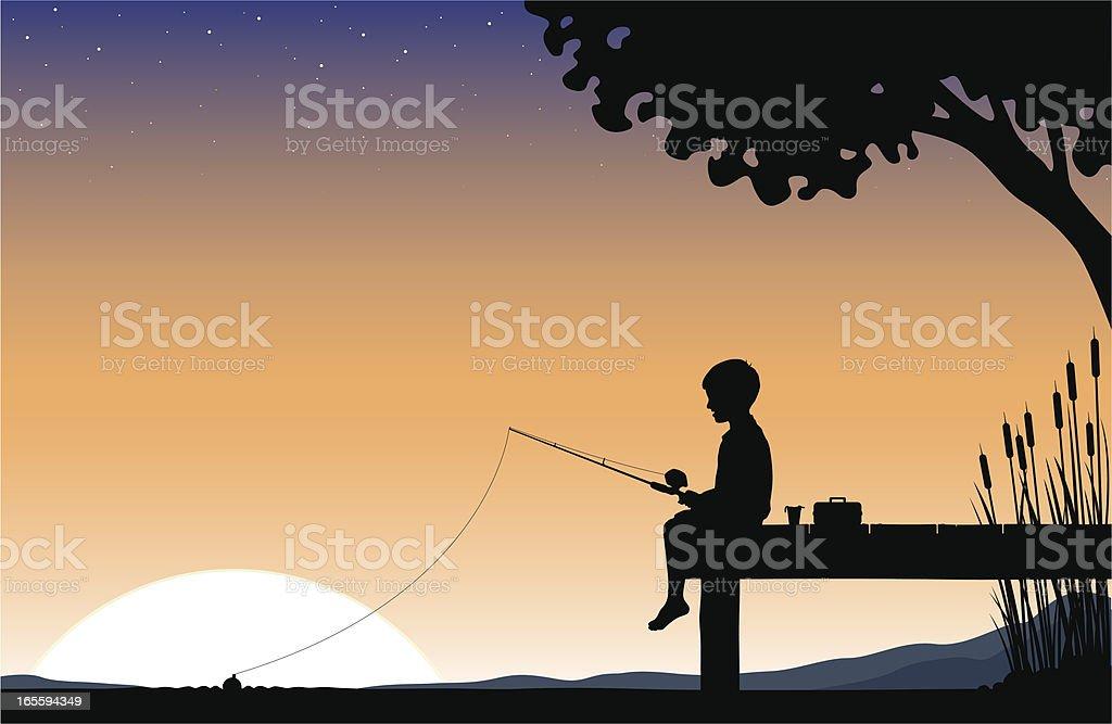 Child Sunrise fishing royalty-free stock vector art