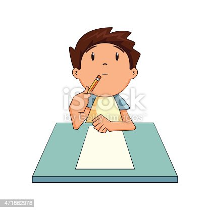 Child Thinking Looking Up Stock Vector Art 471882978 Istock