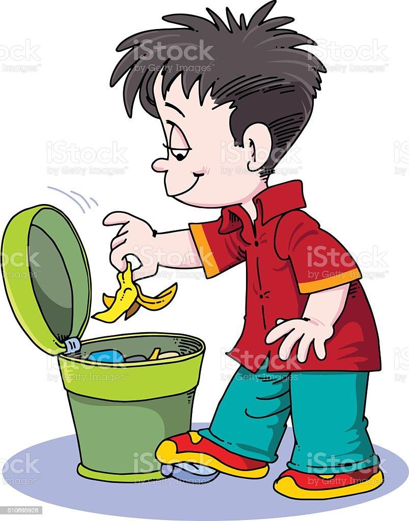 child throwing trash vector art illustration