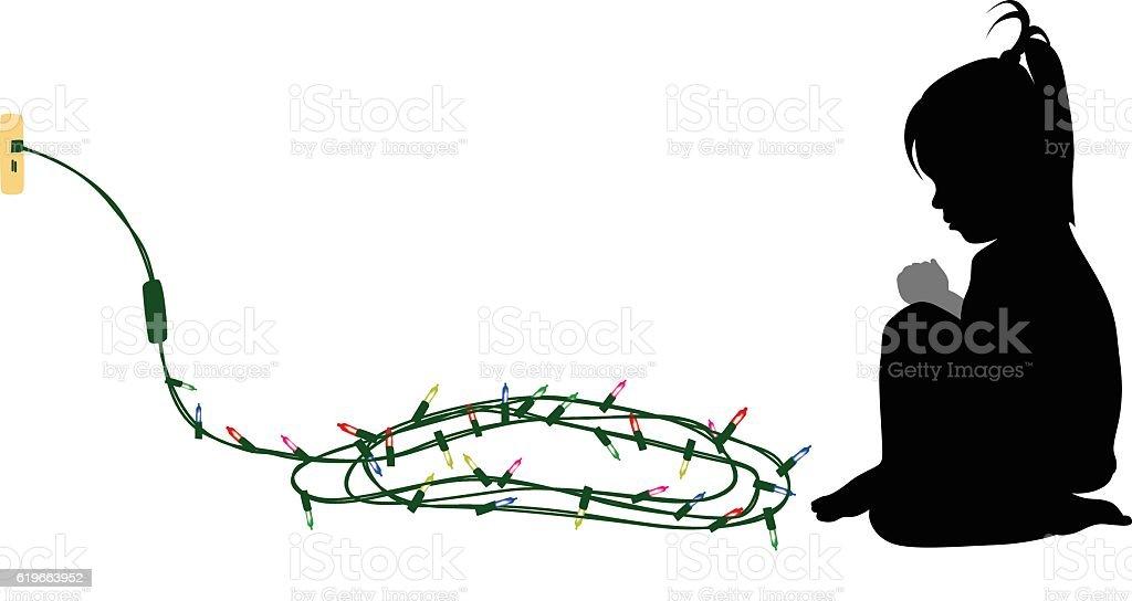 Child WaitingFor Christmas vector art illustration