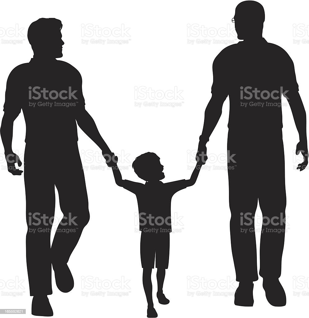 Child Walking with Two Fathers royalty-free stock vector art