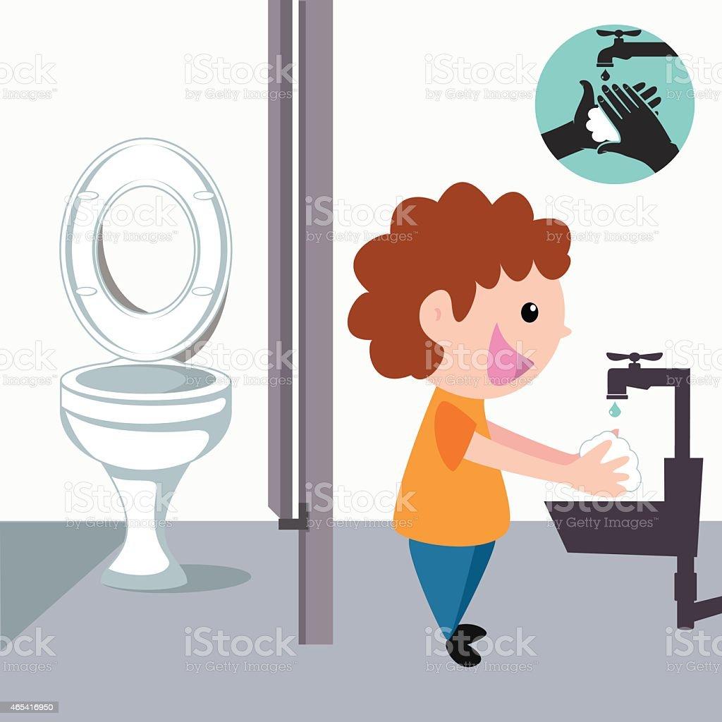 Imagens Lavando Banheiro : Crian?a lavar as m?os depois de banheiro vetor e