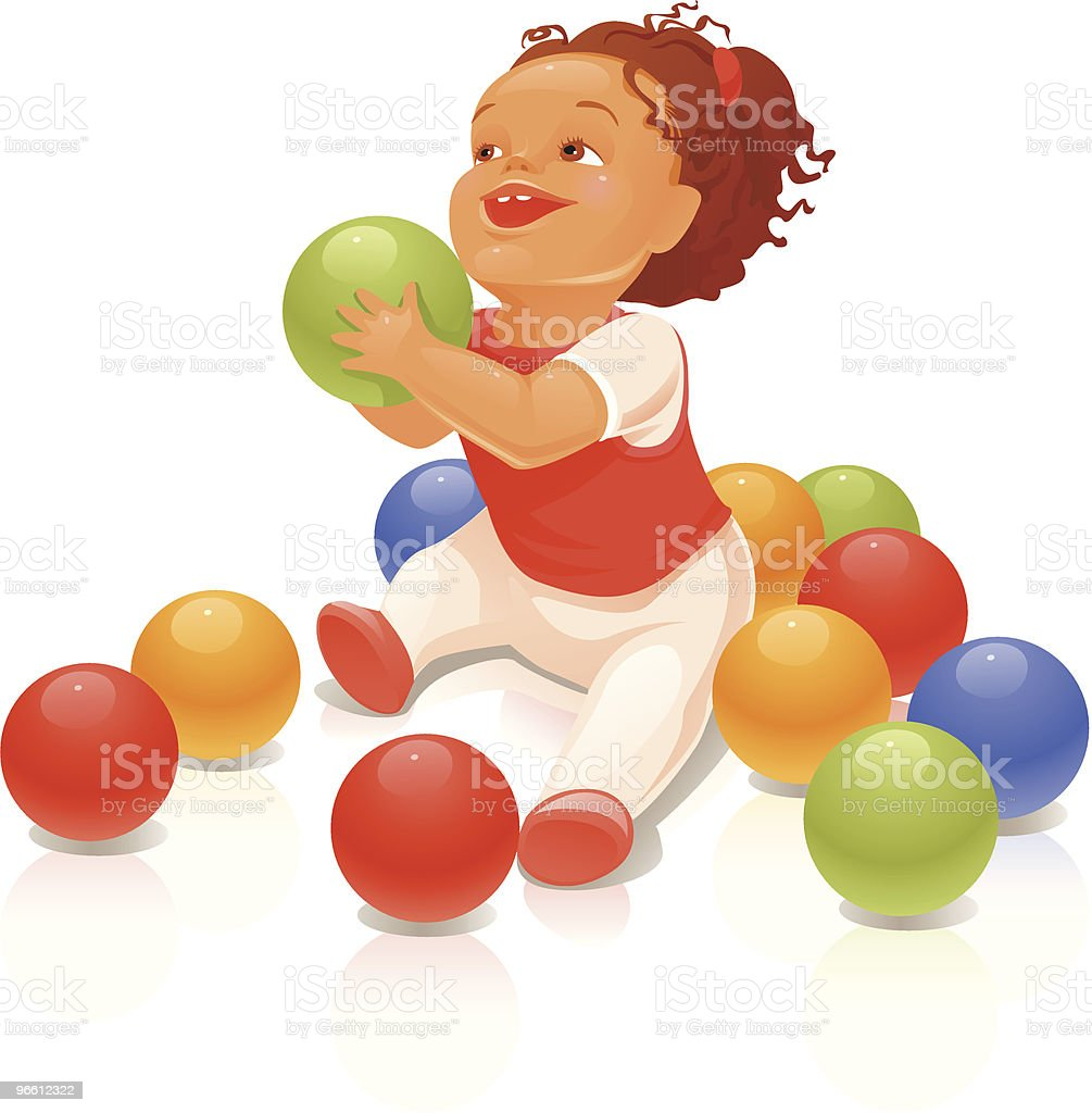 Child with a ball vector art illustration