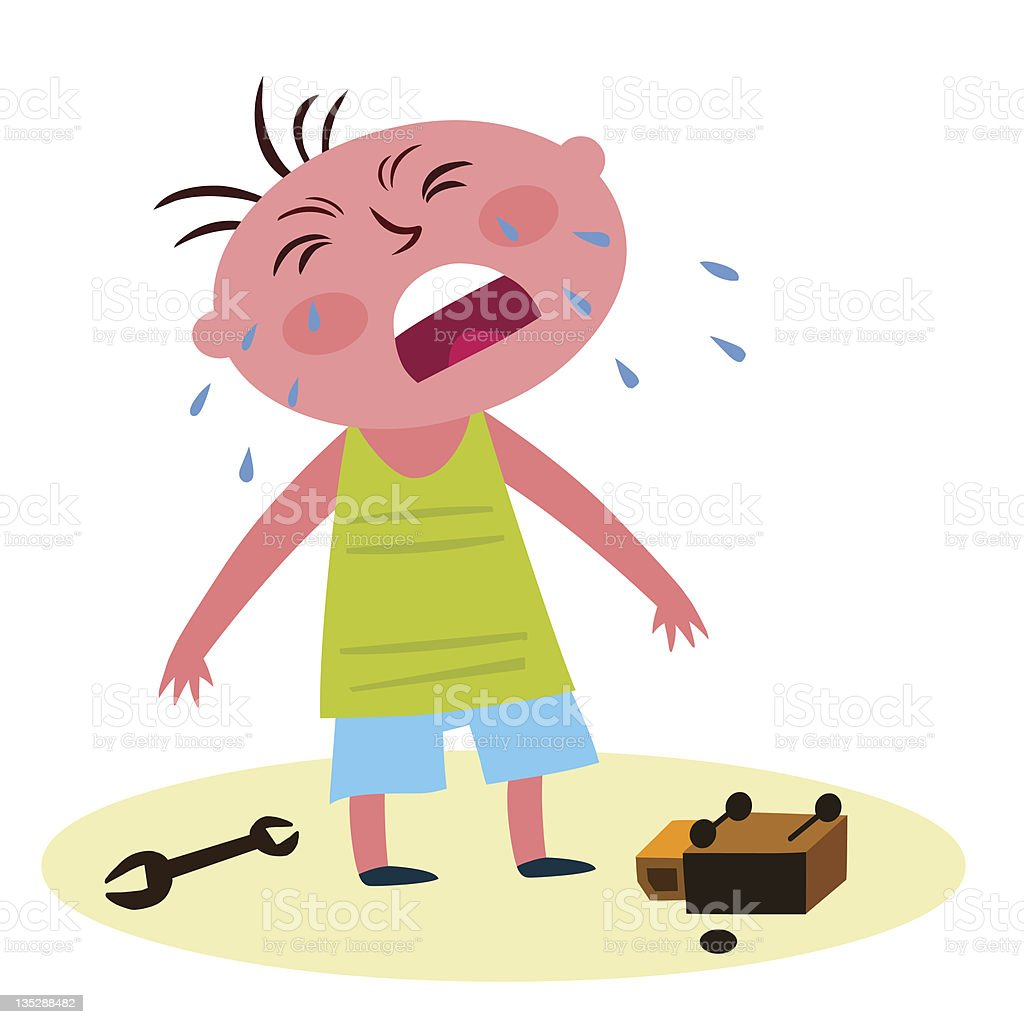 Child with a broken toy crying vector art illustration