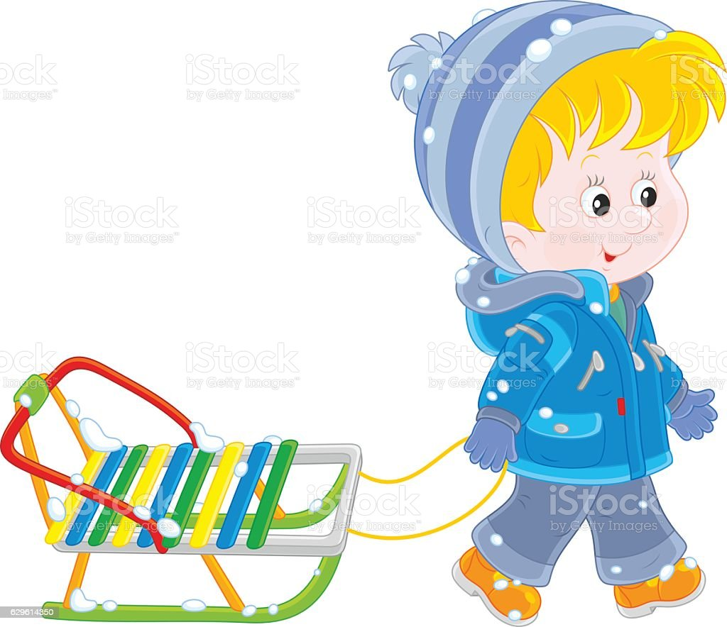 Child with a sleigh vector art illustration