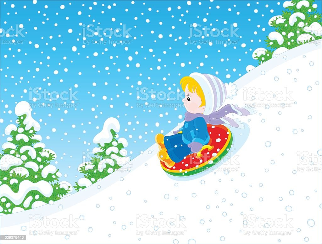Child with an inflatable snow tube vector art illustration