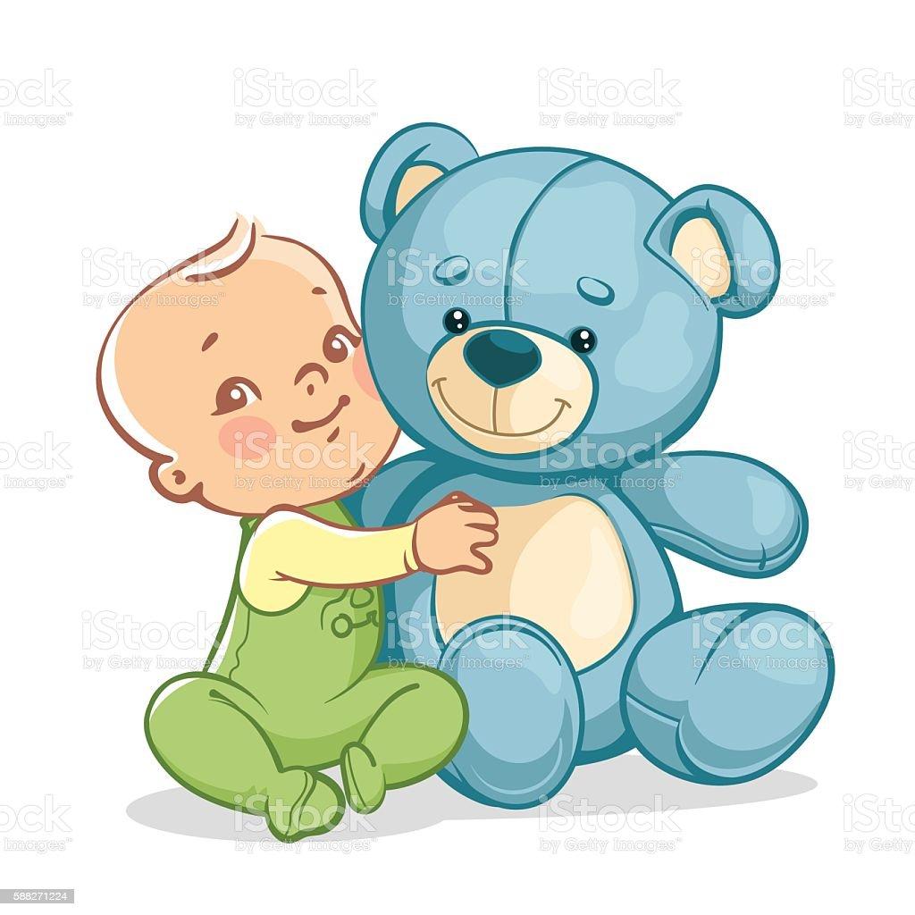 Child with big blue teddy bear vector art illustration