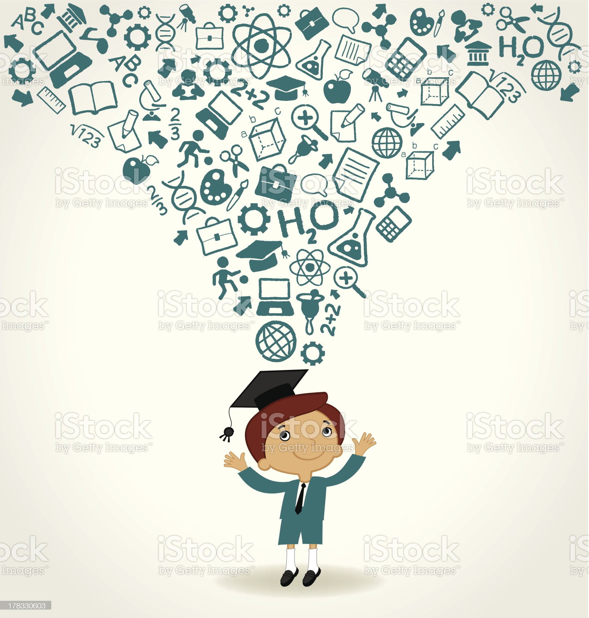 child with education icons royalty-free stock vector art