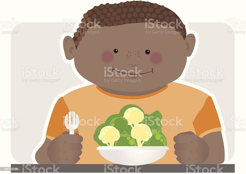 Child with Healthy Vegetables for Dinner royalty-free stock vector art