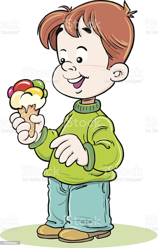 Child with ice-cream royalty-free stock vector art