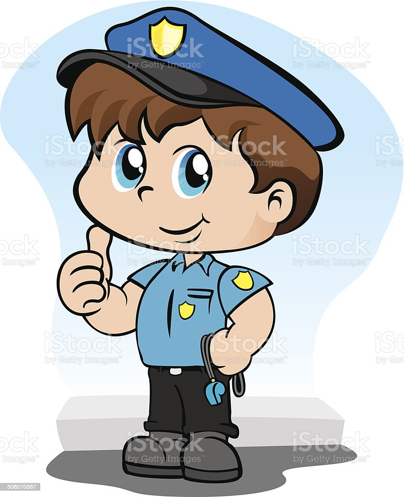 Child with police uniform holding a whistle royalty-free stock vector art