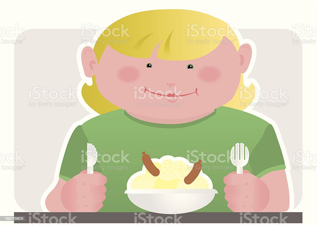 Child with Sausages and Mash for dinner royalty-free stock vector art