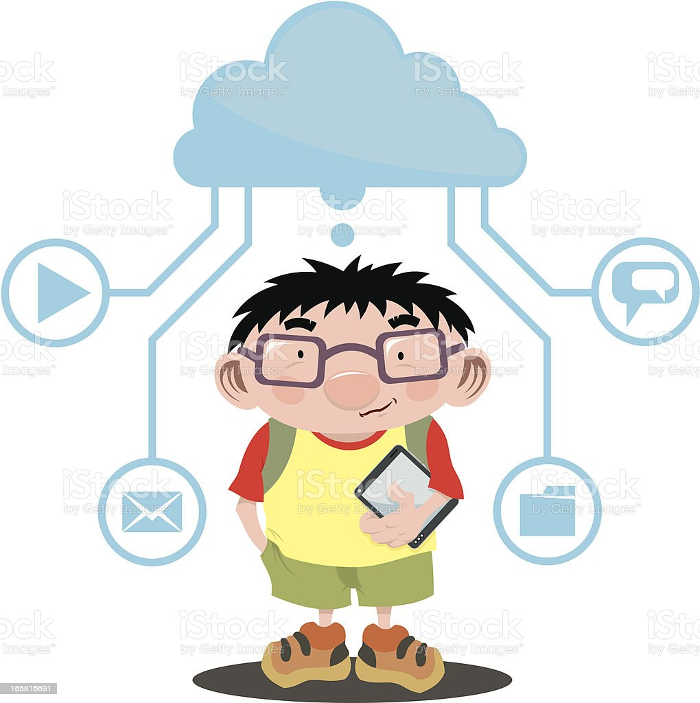 Child with tablet royalty-free stock vector art