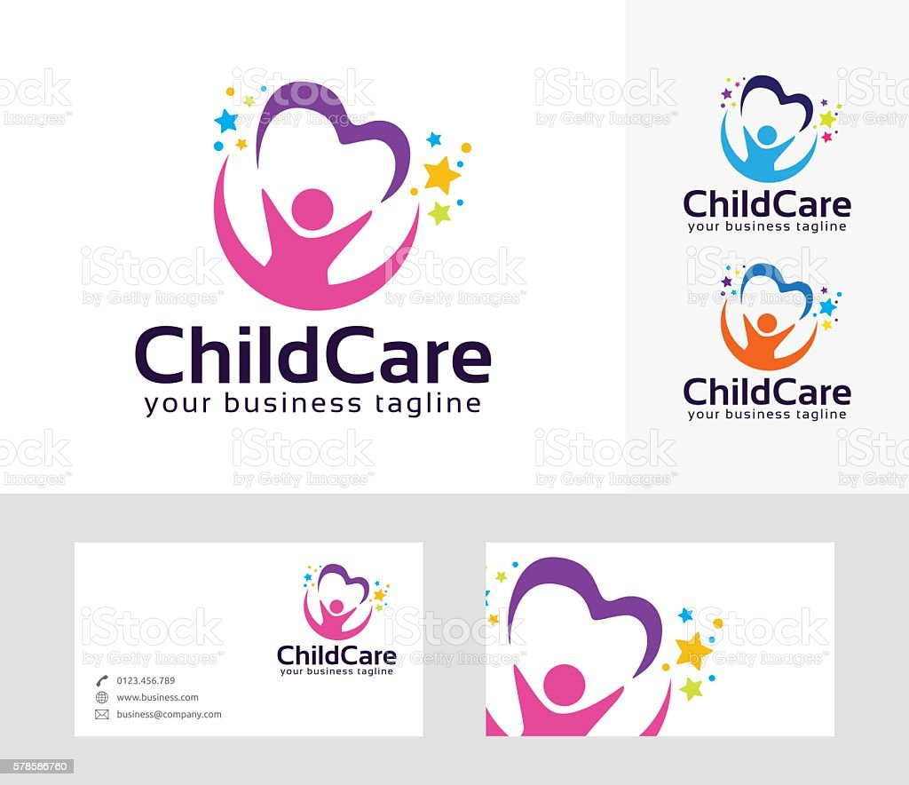 Childcare vector logo with vector art illustration