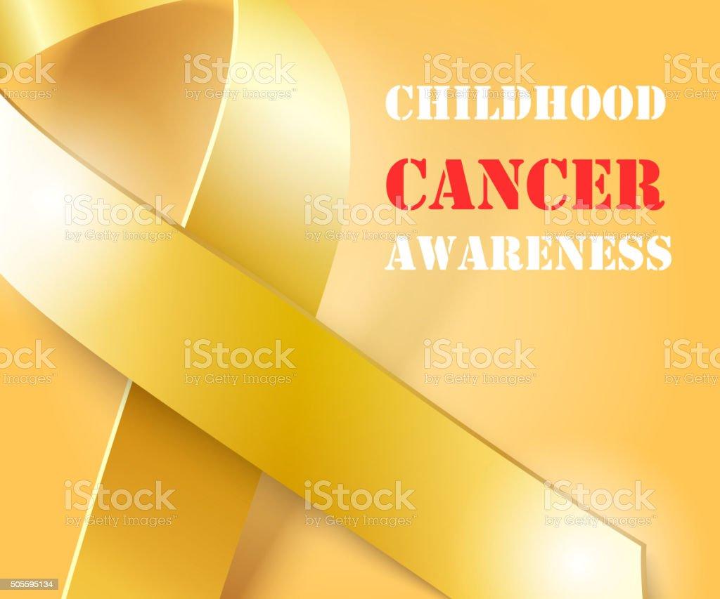 Childhood Cancer Awareness gold ribbon background vector art illustration