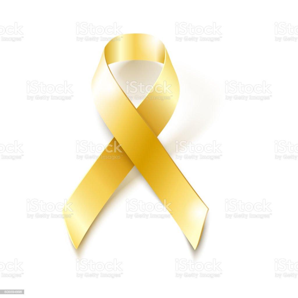 Childhood Cancer Awareness gold ribbon vector art illustration