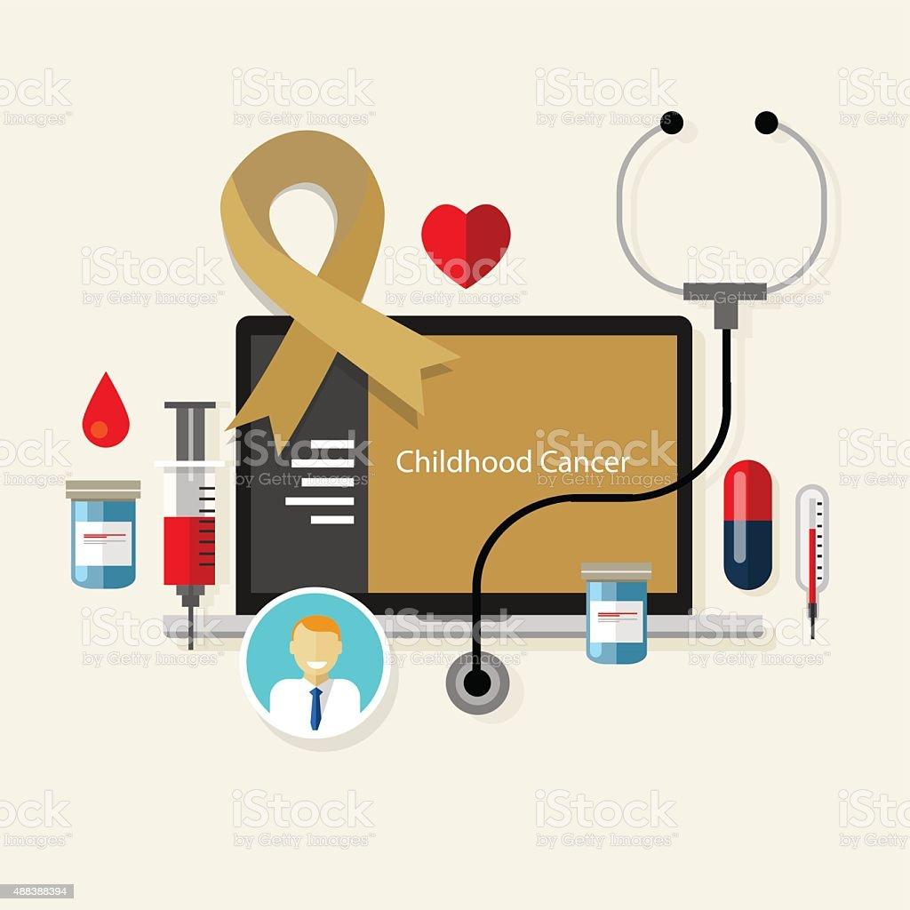 childhood cancer children medical gold ribbon treatment health disease vector art illustration