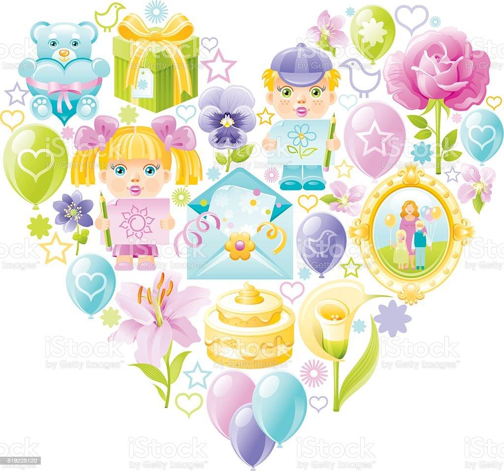 Childhood heart vector art illustration