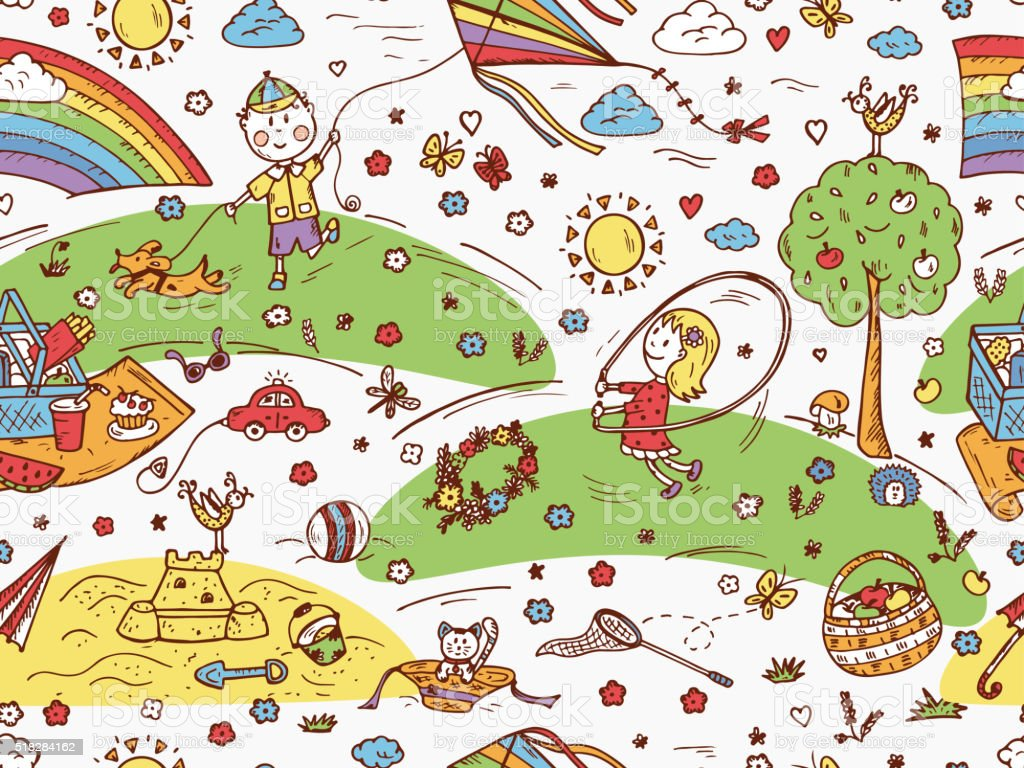 Childhood seamless pattern. Children Outdoor Activities. Summer holidays. Kids vacation vector art illustration