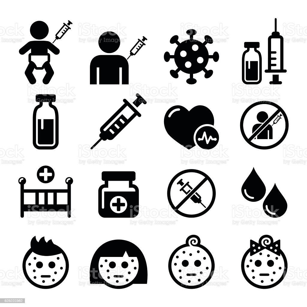 Childhood vaccinations, chicken pox icon set vector art illustration