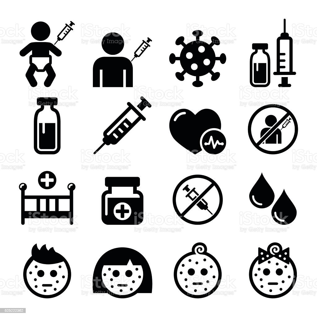 Childhood vaccinations, chicken pox icon set vector art illustration