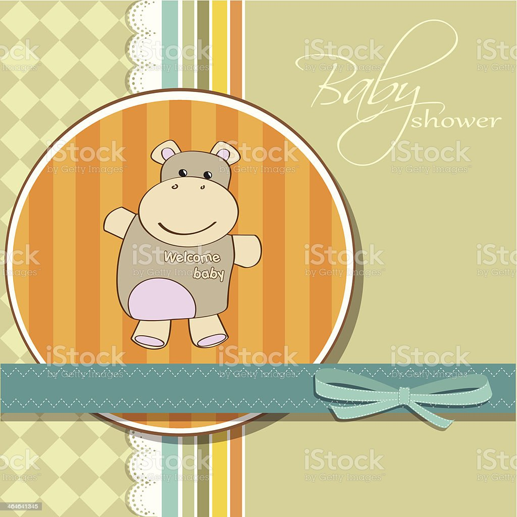 childish baby girl announcement card with hippo toy vector art illustration