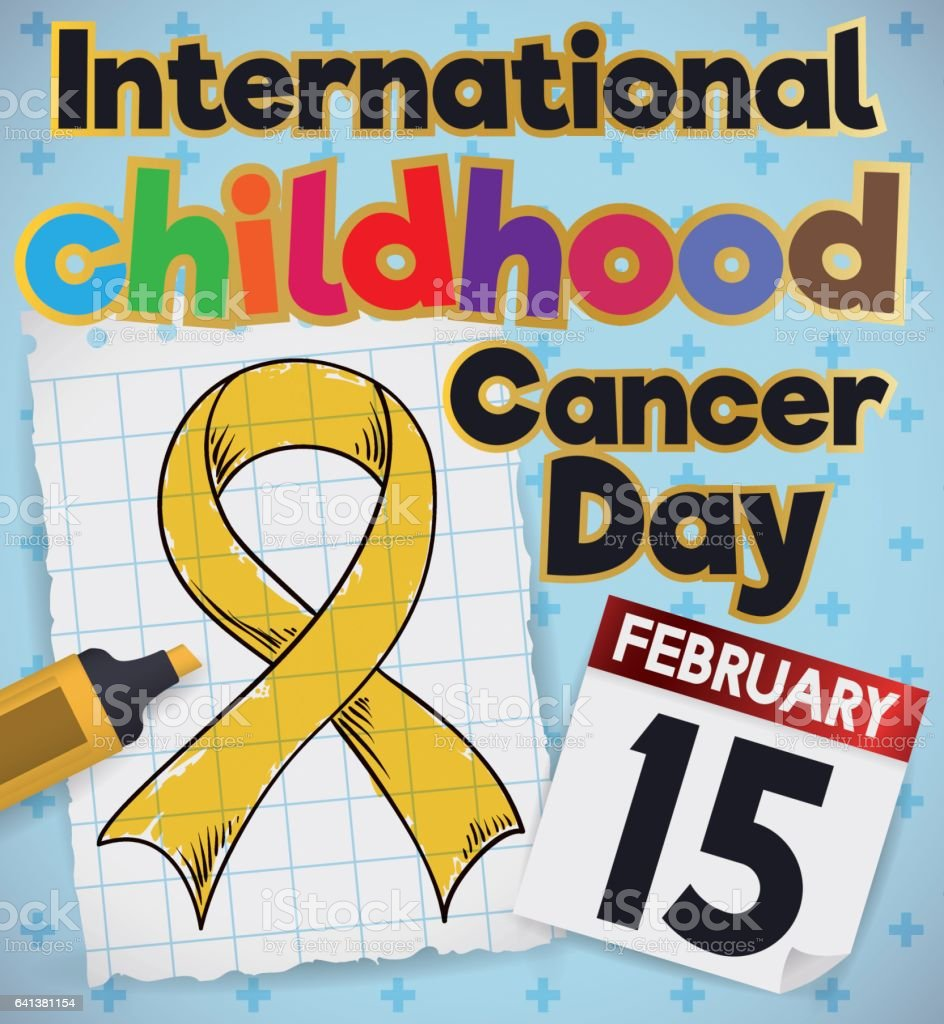 Childish Doodle Drawing of a Ribbon for Childhood Cancer Day vector art illustration
