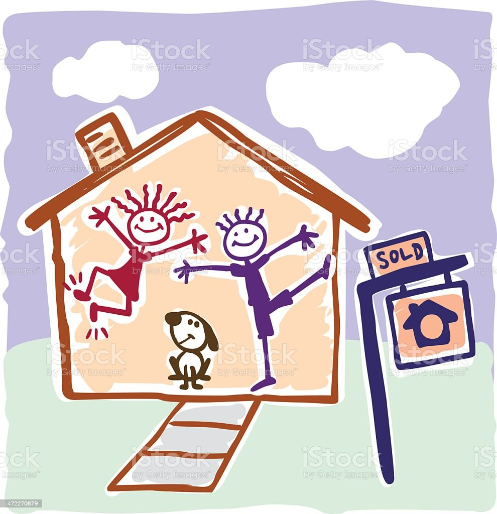 Childlike Depiction of Home Buying royalty-free stock vector art
