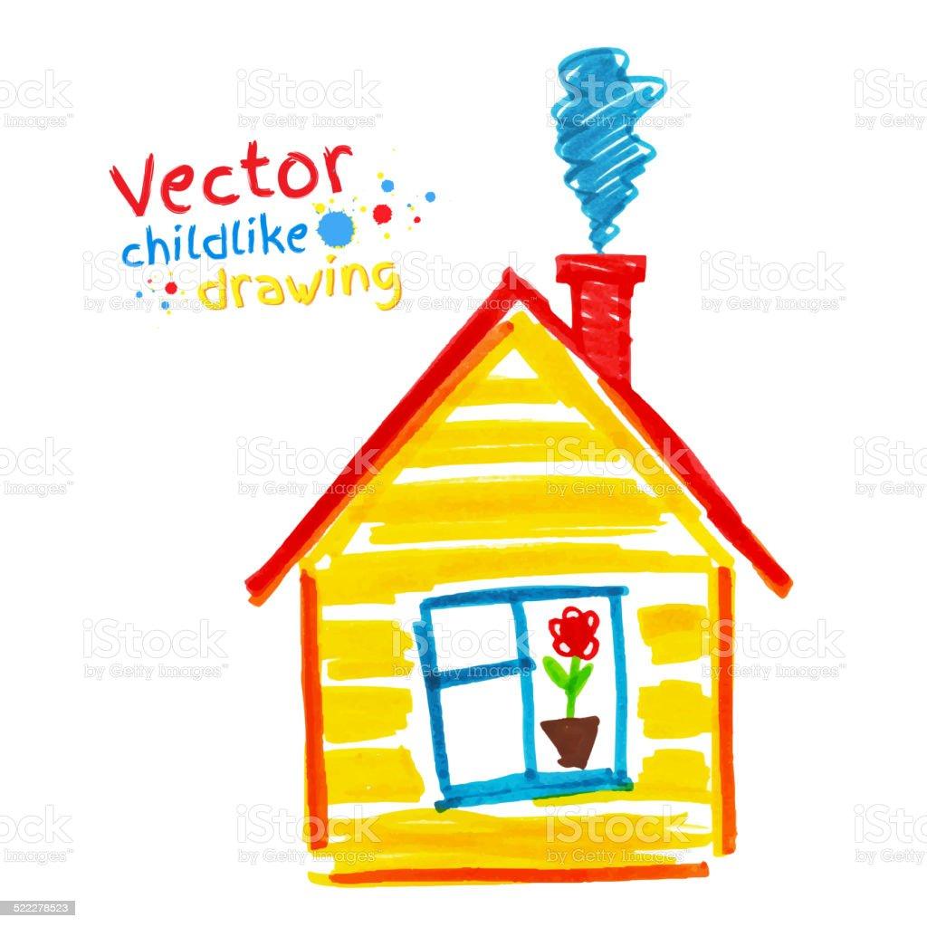 Childlike drawing of house. vector art illustration