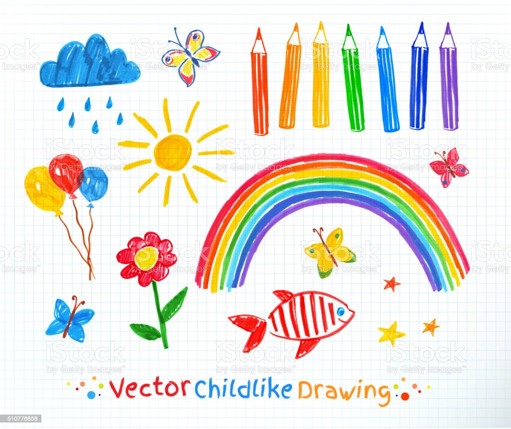 Childlike drawing set vector art illustration