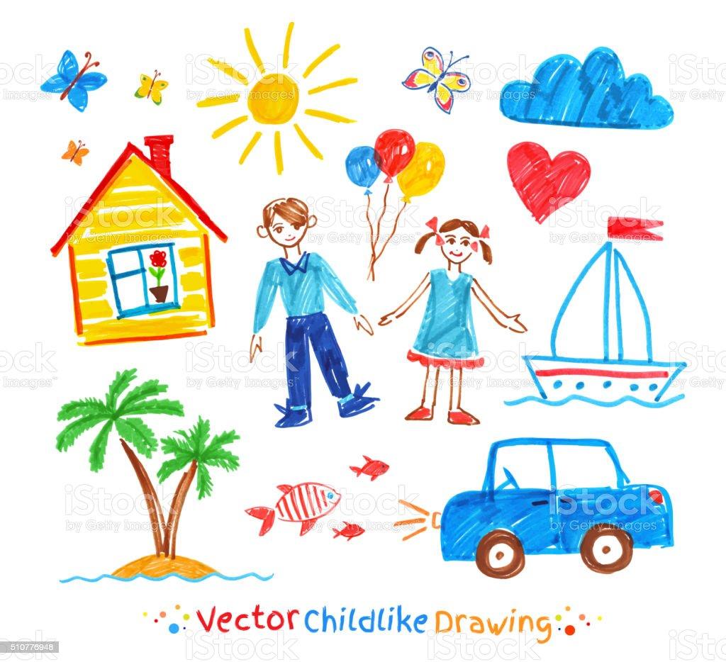 Childlike drawings set vector art illustration